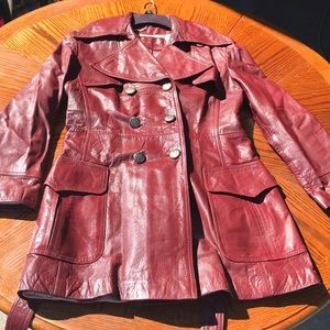 GUC Vintage Burgundy Leather Etienne Aigner Coat